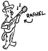 rachel waering a tophat and playing a guitar